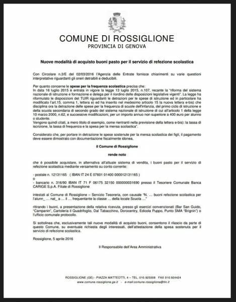Mensa Scolastica - Comune di Rossiglione